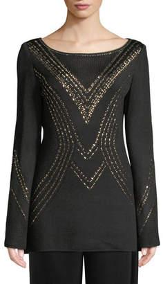 St. John Geometric Pointelle Jacquard Knit Sweater