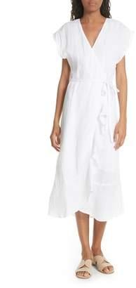 Joie Filma Back Cutout Linen Wrap Dress