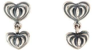 Lagos Caviar Double Fluted Heart Drop Earrings