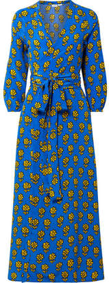 Jagger Rhode Resort Printed Silk Crepe De Chine Wrap Dress - Azure