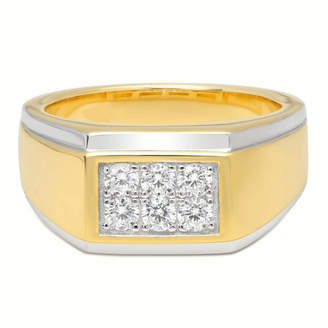 FINE JEWELRY Mens Sterling Silver & 14K Gold Over Silver Cubic Zirconia Ring