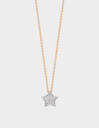 ginette_ny Tiny Diamond Star Necklace in 18K Rose Gold and Diamonds