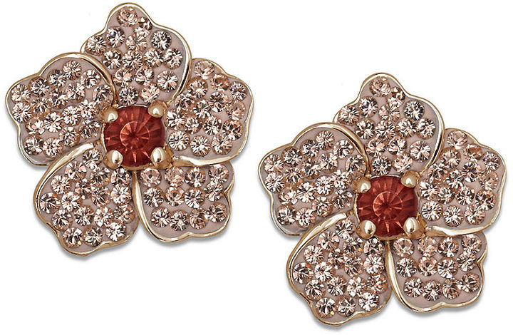 Swarovski Kaleidoscope 18k Rose Gold over Sterling Silver Earrings, Pink and Orange Crystal Flower Stud Earrings (1-1/4 ct. t.w.)
