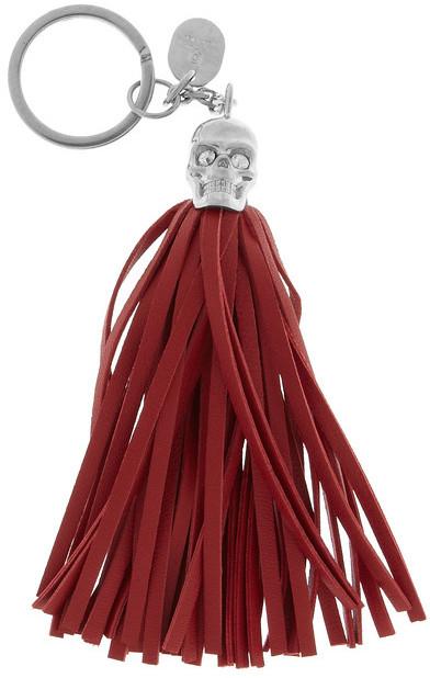Alexander McQueen Swarovski crystal, leather and brass skull key fob