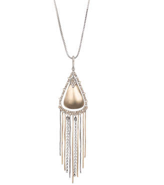 Alexis Bittar Crystal Encrusted Tassel Chain Pendant Necklace