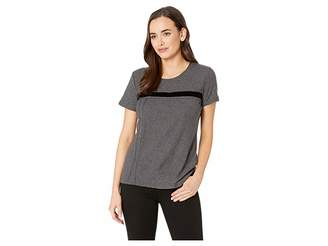 Vince Camuto Short Sleeve Cotton Slub Velvet Tape Detail Tee