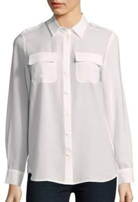 French Connection Pippa Plains Long Sleeve Button-Down Shirt