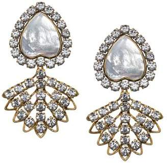 Tory Burch Crystal & Mother of Pearl Clip-On Earrings