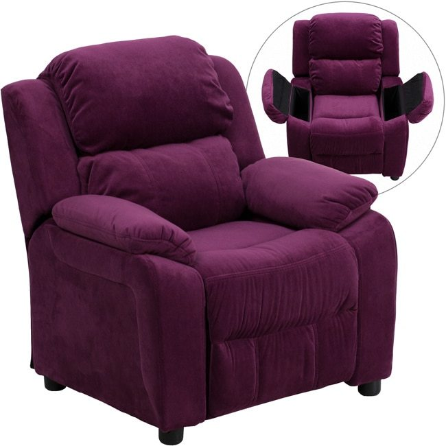 Flash Furniture Deluxe Heavily Padded Contemporary Purple Microfiber Kids Recliner with Storage Arms