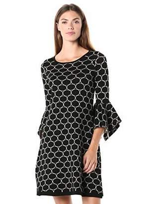 Gabby Skye Women's 3/4 Sleeve Scoop Neck Printed A-Line Sweater Dress