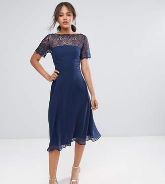 Asos Tall TALL Lace Insert Paneled Midi Dress