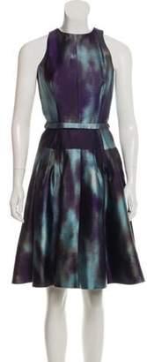 Rochas Wool-Blend A-Line Dress Navy Wool-Blend A-Line Dress