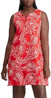 Chaps Plus Plus-Size Paisley Lace-Up Cotton Dress