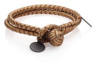 Bottega VenetaBottega Veneta Intrecciato Metallic Leather Double-Row Wrap Bracelet