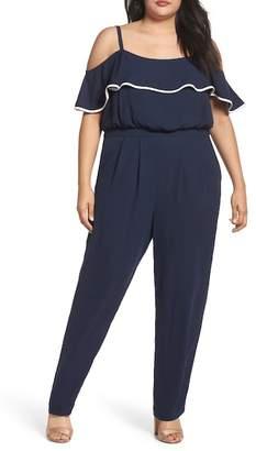 Vince Camuto Ruffle Trim Jumpsuit (Plus Size)