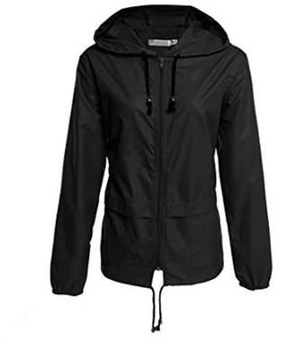 XFentech Women's Outerwear Outdoor Lightweight Hooded Zipper Waterproof Jacket