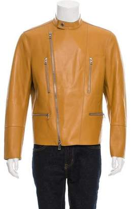 Michael Kors Leather Cafe Racer Jacket w/ Tags