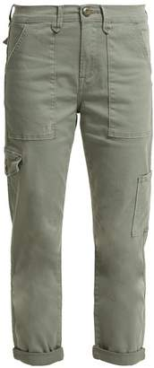 Frame Le Service Cotton Blend Cropped Cargo Trousers - Womens - Green