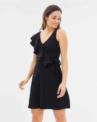Lost Ink Frill Shoulder Tie Waist Fit-and-Flare Dress