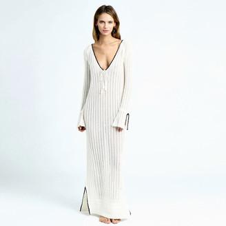 Minnie Rose - Mesh Long Sleeve Dress $130 thestylecure.com