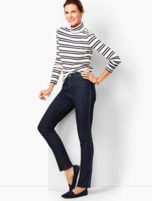 Talbots High-Rise Straight-Leg Jeans - Beaded Tuxedo Stripe