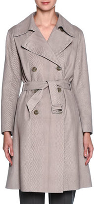 Giorgio Armani Sueded-Python Belted Trenchcoat, Beige $21,095 thestylecure.com