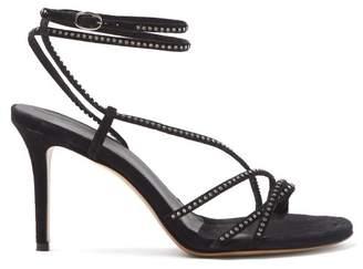 Isabel Marant Amspee Crystal Embellished Suede Sandals - Womens - Black