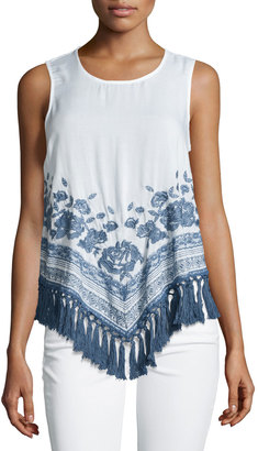 Love Sam Floral-Embroidered Tassel Tank, White/Blue $169 thestylecure.com