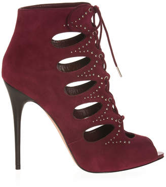 Alexander McQueen Lace-up Suede Ankle Booties