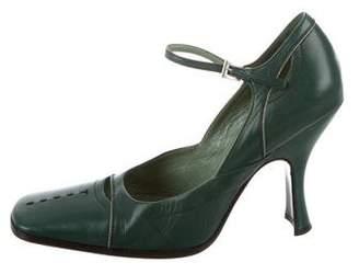 Prada Leather Ankle-Strap Pumps