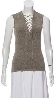 IRO Wool-Blend Lace-Up Sleeveless Top