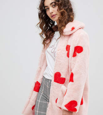 Daisy Street coat with all over hearts in faux fur