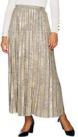 Halston H by Petite Foil Printed Pleated MaxiSkirt