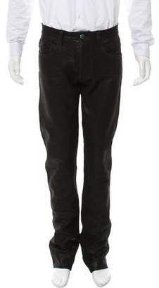 Jay Kos Flat Front Leather Pants