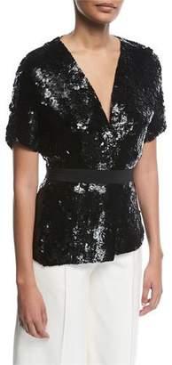 Narciso Rodriguez Sequined Silk Short-Sleeve Jacket