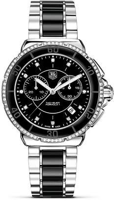 "Tag Heuer Formula1"" Ceramic & Steel Chronograph Watch with Diamonds, 41mm"