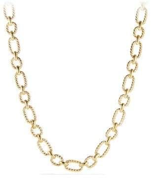 David Yurman Cushion Link Necklace With Diamonds In 18K Gold, 12.5Mm