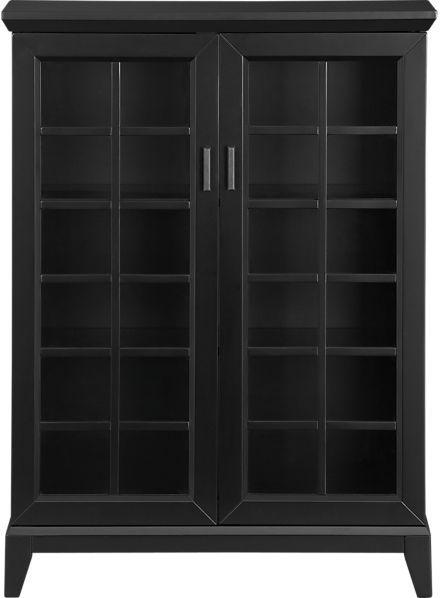 """Crate & Barrel Black 36.5"""" Two-Door Cabinet."""