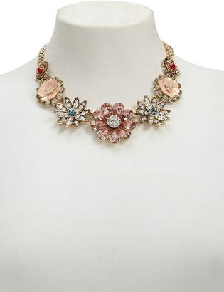 Forever 21 Rhinestone Floral Statement Necklace