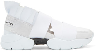 Emilio Pucci White & Grey Colorblock Slip-On Sneakers $520 thestylecure.com