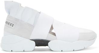 Emilio Pucci White & Grey Colorblock Slip-On Sneakers $525 thestylecure.com