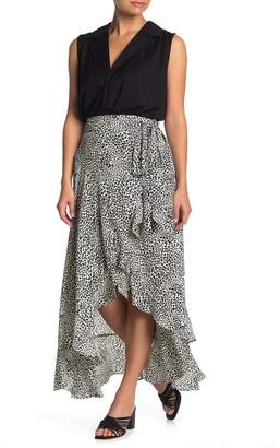 Nanette Lepore NANETTE Leopard Print High/Low Wrap Skirt
