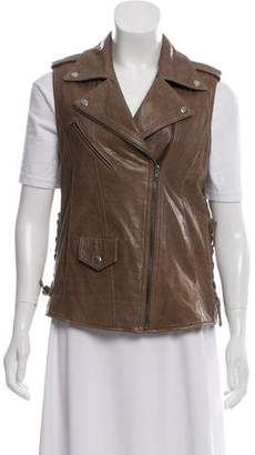 Veda Pointed Collar Leather Vest