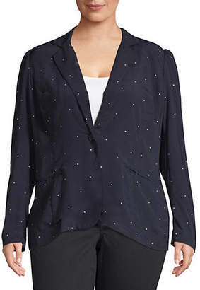 Vince Camuto Plus Soho Polka Dot Notch Blazer