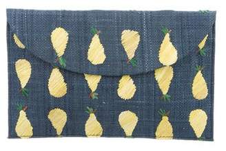 Kayu Hand-Embroidered Straw Envelope Clutch