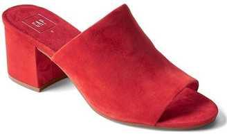 Open-toe suede mules