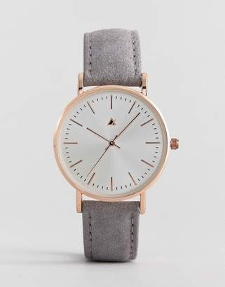 Asos DESIGN watch in suede with gold case in gray