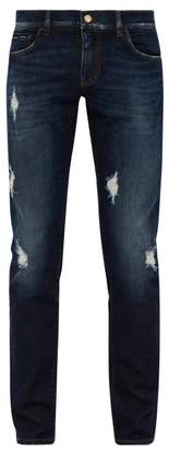 Dolce & Gabbana Distressed Slim Fit Straight Leg Jeans - Mens - Dark Navy