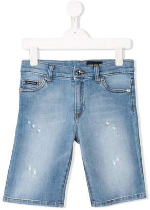 Dolce & Gabbana distressed denim bermudas