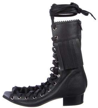 Alberta Ferretti Leather Lace-Up Sandals